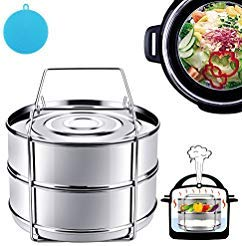 Instant Pot Accessories, Steamer Insert Pans for 6qt/8qt Pressure Cooker, BBing Stackable Stainless Steel Vegetable Steamer with Sling ()