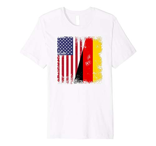 (Half German Flag T-Shirt | Vintage Germany USA Gift)
