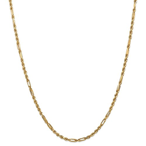 14k Gold Solid Diamond-Cut Milano Rope Chain Necklace with Lobster Clasp (2.9mm) - Yellow-Gold, 24 in