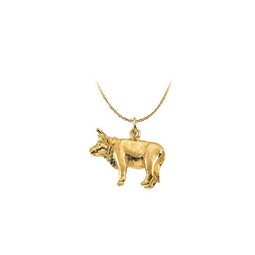 Gold Vermeil Overlay 16.13x4.39mm Ox Pendant in Silver