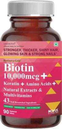 Carbamide Forte Biotin 10000mcg with Multivitamin, Keratin & Bamboo Extract Tablets For Hair Growth for women & Men -90…