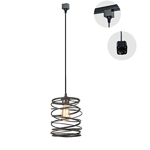 KIVEN H-type 3-Light Track Pack Restaurant Chandelier Decorative Chandelier Cage Pendant light Industrial Factory Pendant Lamp ,Bulb Not Include,One pcs/ctn