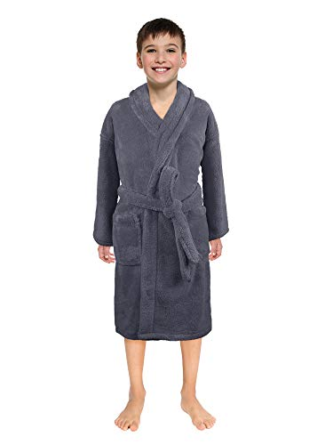 (Ultra-Soft Plush Shawl Robes for Boys and Girls (Gray, Large))