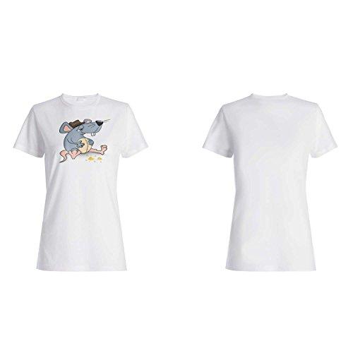 Ich liebe, lustige Maus-volle Neuheit zu essen Damen T-shirt p14f