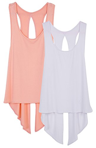 icyzone Sexy Yoga Tops Workout Clothes Racerback Tank Top For Sport Women (S, Pale Blush/White) (Blush Womens)