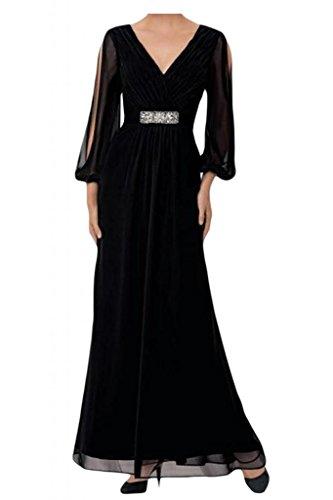 Toskana novia elegante V de recorte ropa de noche de gasa larga aermel largo Party novia Vestidos