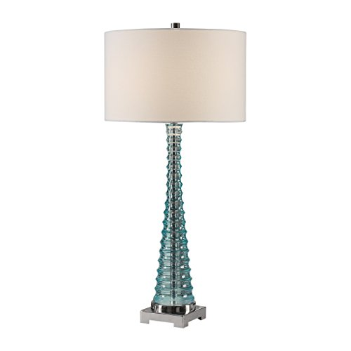 Ribbed Aqua Blue Sculpted Table Lamp | Modern Tapered Pyramid Column ()
