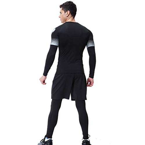 Pour Tenue Shorts Yiijee Sportswear Vêtements Collant Pièces Avec Running Shirt De Séchage Compression 3 Homme Sport Fitness Image3 Comme Rapide w7fwaqZ
