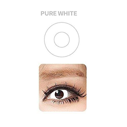 Multi-Color Cute Contact Lenses Color Blends Cosplay Eyes Cosmetic Makeup Eye Shadow with a Case (2PCS) (White) ()