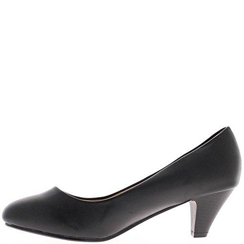 Escarpins femme grande taille noirs mat à talon de 6cm