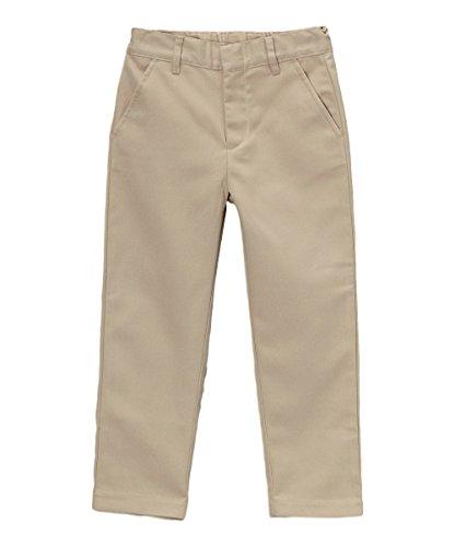 Boy's Uniform Twill Pants Flat Front Pants, Khaki Size (Adjustable Waist Khaki)