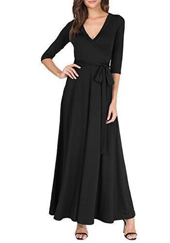 Levaca Womens V Neck Wasit Belt Slim Fit Swing Work Wear Wrap Dress Black L ()