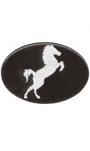 Knockout 409.1 Jumping Horse White Horse on Black Hitch Cover