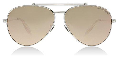 Alexander McQueen AM0057S 005 Silver AM0057S Aviator Sunglasses Lens Category - Alexander Aviators Mcqueen