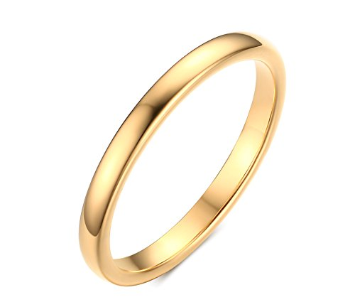 2mm Plain Dome Polished Thin Tungsten Carbide Wedding Engagement Rings Bands,Gold Plated, Size 7
