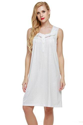 Ekouaer Sleepshirts Womens Sleeveless Cotton Chemise Nightwear Gowns (White, Large) (Cotton White Chemise)
