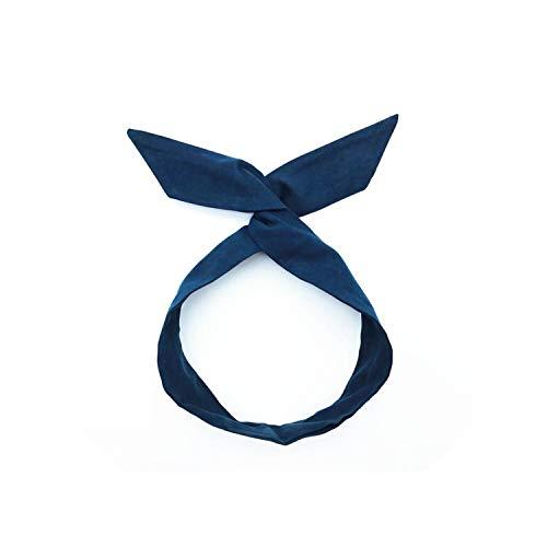 1Pcs Women'S Lovely Solid Rabbit Bunny Ear Ribbon Metal Wire Headband Scarf Hair Head Band Bow
