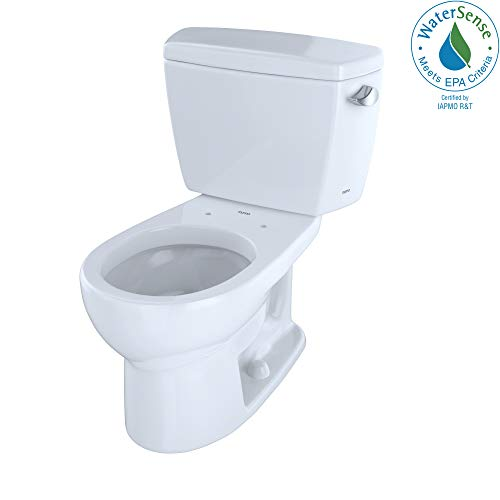 (TOTO CST743ER#01 Eco#Drake Round Bowl Toilet with Right Hand Tank C743E + St743Er, Cotton White)