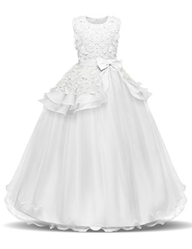 NNJXD Girl Sleeveless Embroidery Princess Pageant Dresses Kids Prom Ball Gown Size (170) 13-14 Years White -