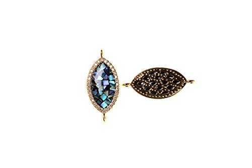 GOODBEAD 1pc Abalone Shell Inlay with Clear White Cubic Zirconia Micro Pave Evil Eye Oval Connector | DIY Necklace, Choker, Bracelet | 23x10mm (No Eye)