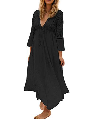 Bikini Cover up Women Boho Beach Wears for Summer Holiday Vocation Black (one size, 5164-3)