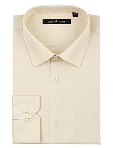 (Verno Luxton MensFashion(Regular) Fit Long Sleeve Dress Shirt, 17-17 1/2
