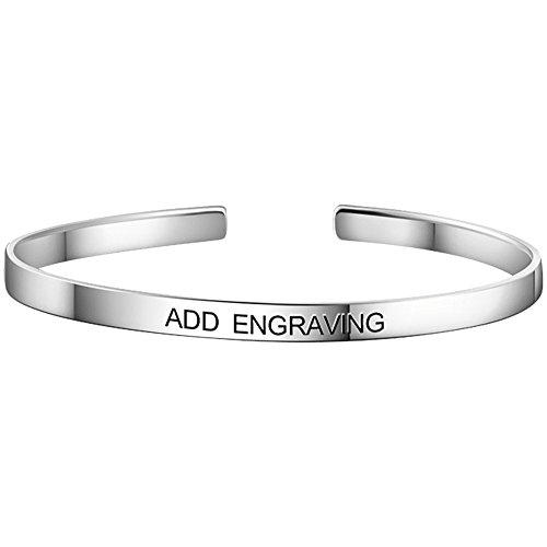 Engravable Silver Bracelets - SOUFEEL Personalized Bangle Bracelets Engraved with Letters Sterling Silver Bracelets Customized Bangles