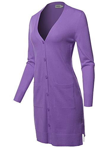 Casual Button Up Long-Line Sweater Viscose Knit Cardigan Violet M ()