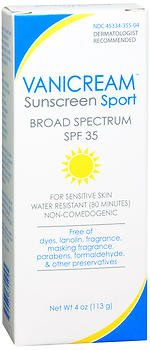 Vanicream Sunscreen Sport, SPF 35 4 oz (Pack of 4)