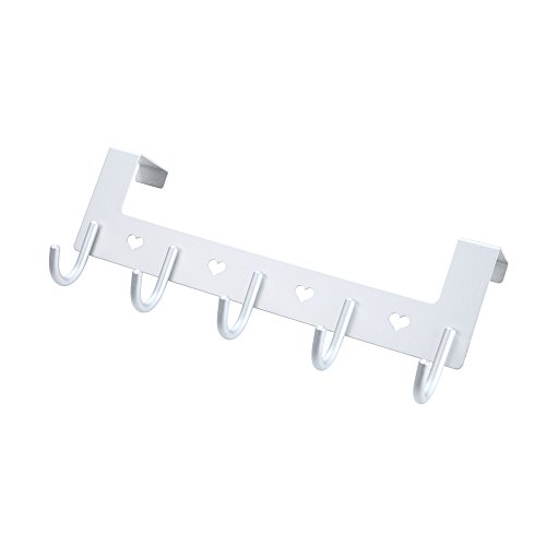 Over the Door 5 Hook Hanger Rack, Heavy Duty Aluminum Organizer for Storage Holder Hanging Towels, Clothes, Coats, Robes by Gulevy (Silver) (Show Rack Door)