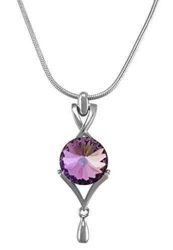 Birthstone Color Pendant Necklace with Swarovski Crystal Set in Platinum. (June Alexandrite)