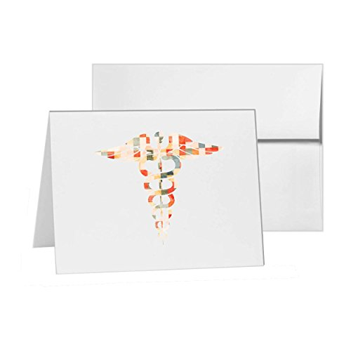 Medicine Staff Snakes Smybol Pharmacy, Blank Card Invitation Pack, 15 cards at 4x6, Blank with White Envelopes Style 12659