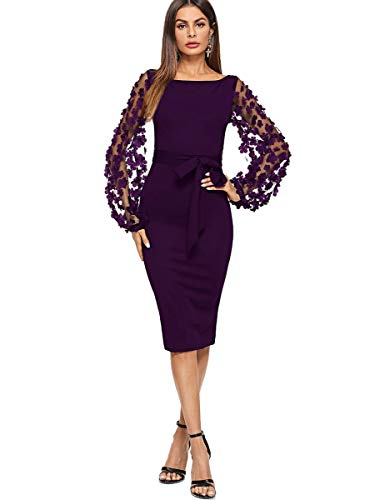 SheIn Women's Elegant Mesh Contrast Bishop Sleeve Bodycon Pencil Dress Large Purple