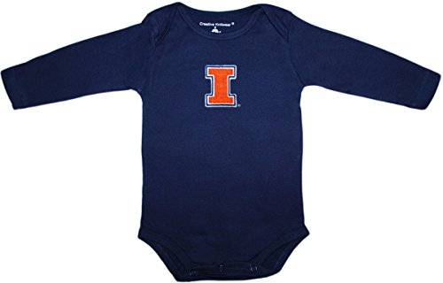 Creative Knitwear University Of Illinois Power I Long Sleeve Bodysuit,Navy,0-3 Months - Illinois Embroidered Long Sleeve