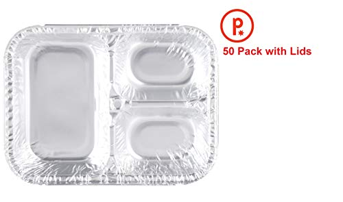 Disposable Aluminum Dinner Lunch Tray with Paper Lids (Pack of 50) 3 Compartment Foil Pan 8 1/2