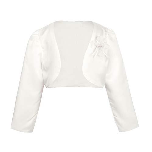 iiniim Girl's Long Sleeve Beaded Bolero Jacket Shrug Short Cardigan Dress Cover up Ivory 3-4 ()