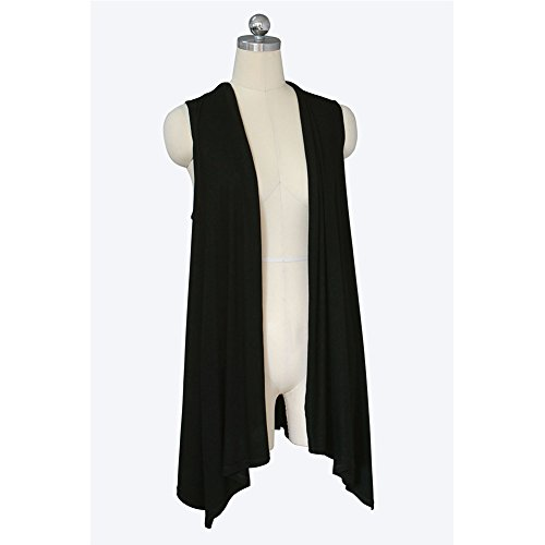 Aperto Stylish Donne Black Maniche Outwear Lungo Vest Senza Anteriore Cardigan Le 1BEqCwB