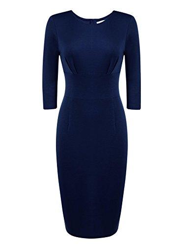 ETC KART - Vestido - ajustado - manga 3/4 - para mujer Azul azul marino Large