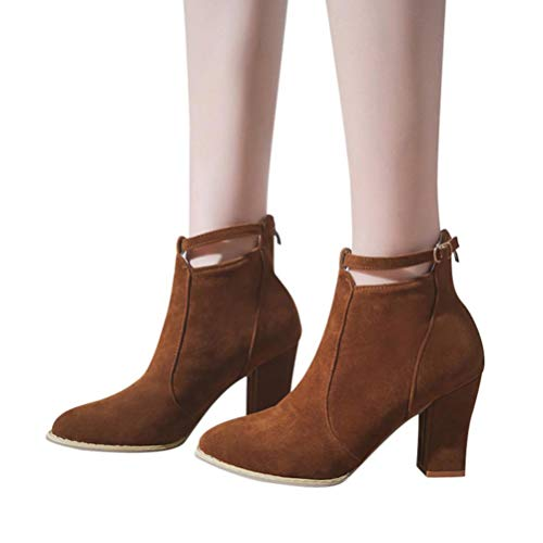 a0521258f1c Gyoume Winter Calf Boots Women Buckle Ankle Boots Shoes Point Toe Boots  Party Dress Shoes by