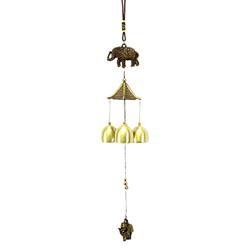 Patgoal Wind Chime,Antique Copper Elephant Temple 3 Bells Windchimes Outdoor Indoor for Garden and Home For Sale