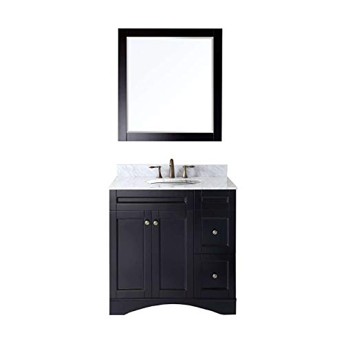 Virtu USA Elise 36 inch Single Sink Bathroom Vanity Set in Espresso w Square Undermount Sink, Italian Carrara White Marble Countertop, No Faucet, 1 Mirror – ES-32036-WMSQ-ES