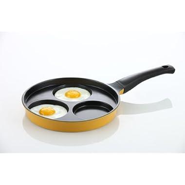 Flamekiss 9.5  Orange Ceramic Coated Nonstick 3-Cup Egg Cooker Pan by Amorè, Innovative & Elegant Design, Nano Ceramic Coating w/ Silver Ion (100% PTFE & PFOA Free)