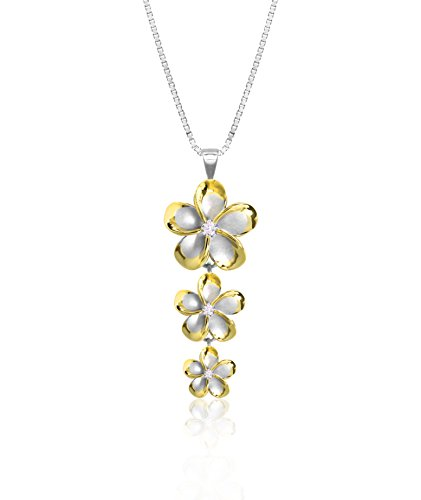 Honolulu Jewelry Company Sterling Silver with 14k Gold Plated Trim Three Plumeria CZ Necklace with 18