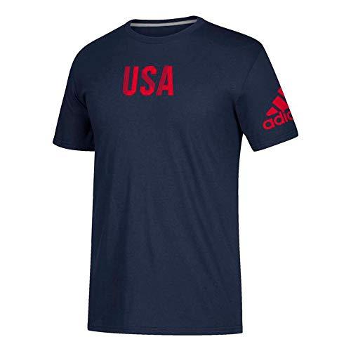 adidas Men's Navy Blue USA Revolution Graphic Climalite Performance T-Shirt (Medium)