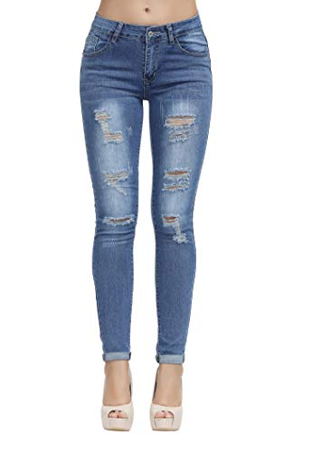 (Women's Hight Waisted Butt Lift Stretch Ripped Skinny Jeans Distressed Denim Pants ...)