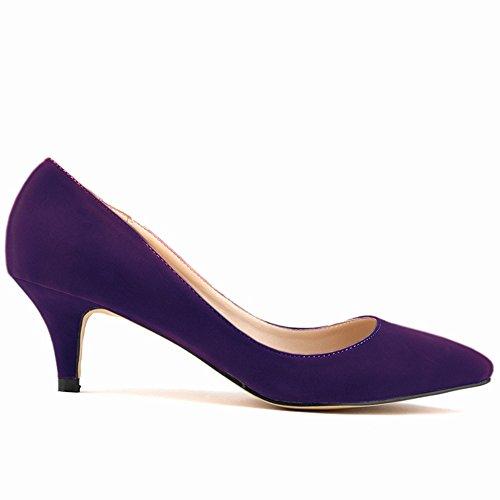 On Made Custom Womens Work Shoes Purple Renly Suede Pumps Slip Dress B7qOECp