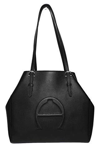 Etienne Aigner Bombe A Black Leather Tote (Handbags Etienne Black Aigner)