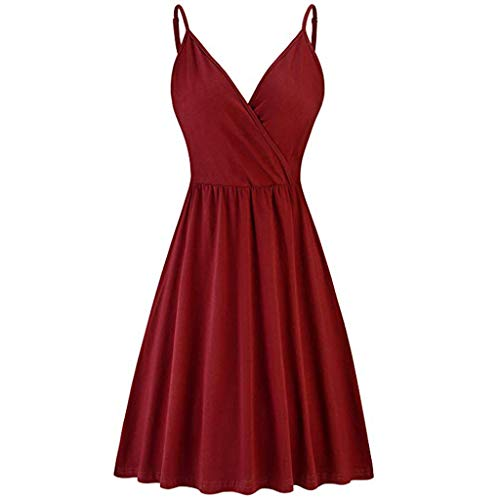 Shisay Women's Beach V Neck Sleeveless Wrap Swing Strap Casual Puffy Swing Dress Red -