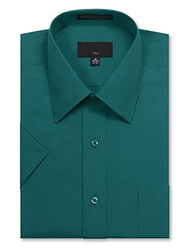JD Apparel Men's Regular Fit Short Sleeve Dress Shirts 18-18.5N 2XL Teal