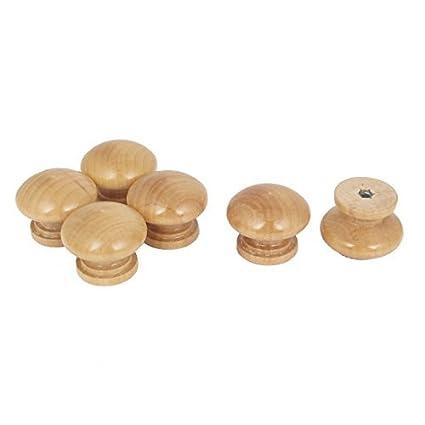 Mueble de cocina Armario de cajones de madera ronda Tire Perilla Beige 6Pcs